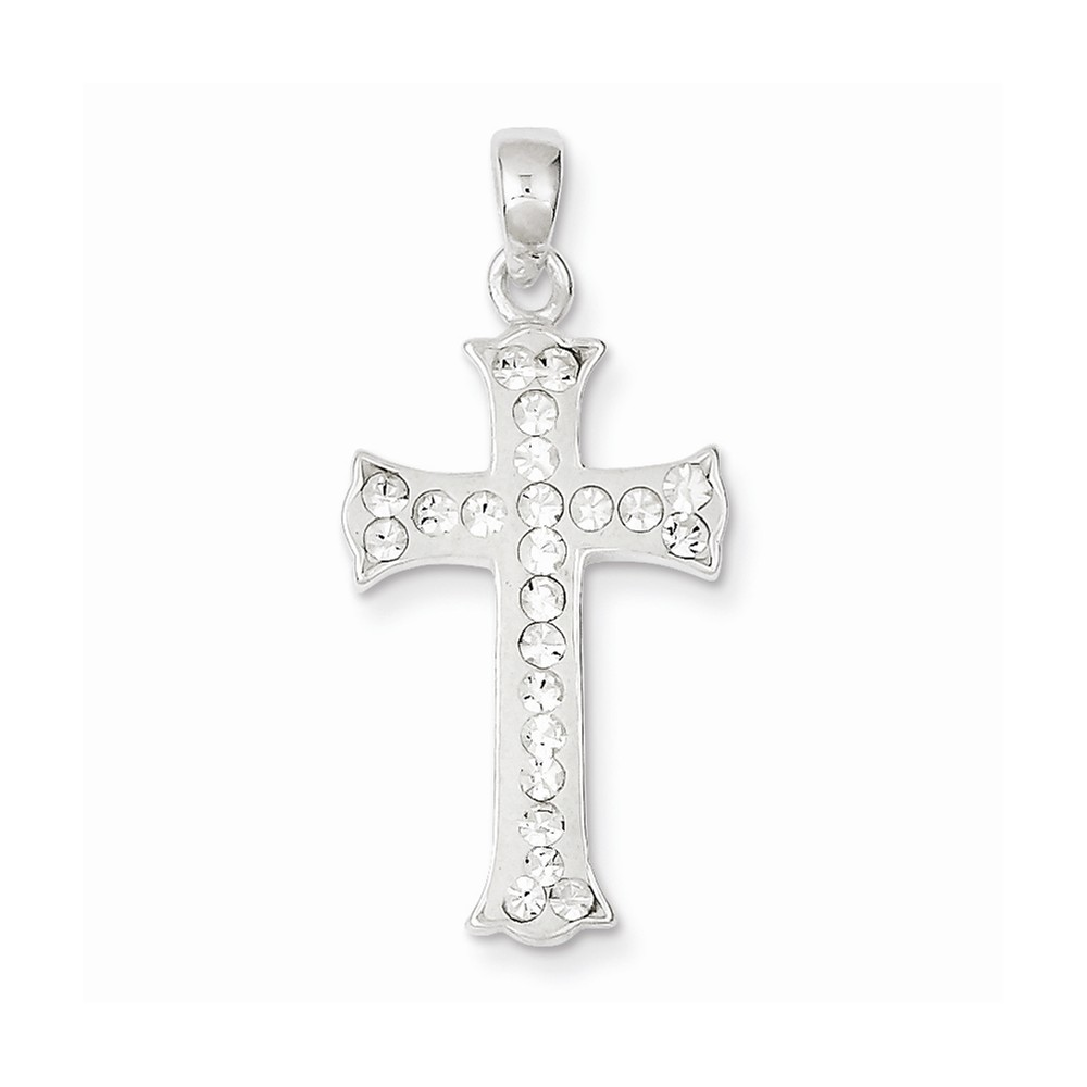 Sterling Silver Stellux Crystal and White Cross Pendant