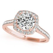 1 2 Ct. Halo Engagement Diamond Ring Crafted In 14k Solid Rose Gold