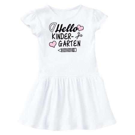 Hello Kindergarten with Hearts and School Supplies Toddler Dress