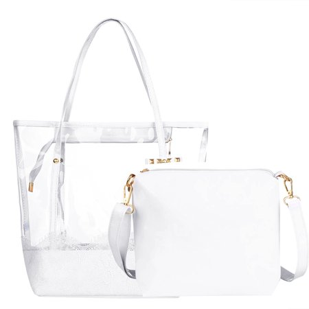 Vbiger Women 2-in-1 Transparent Handbag Fashionable 2 Pieces Beach Tote Bag Clear Shoulder Bag Water-resistant Beach Jelly Handbag