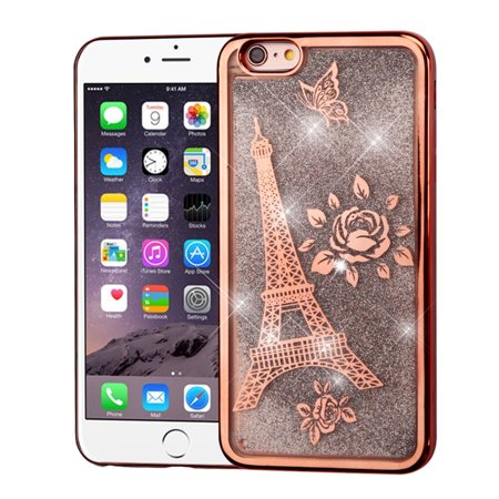 iPhone 6s Plus Case, iPhone 6 Plus Case, by Insten Electroplating Eiffel Tower Quicksand Glitter Hybrid Case For Apple iPhone 6s Plus / 6 Plus - Rose