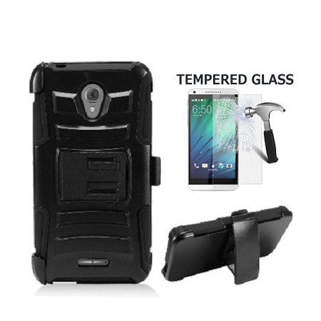 Xcite Fitted Case (Phone Case for Alcatel Raven LTE, AT&T PREPAID Alcatel Ideal xCITE, Alcatel Verso, Alcatel Cameo X, Dual Layer Holster Belt Clip Cover Case with Kickstand + Tempered Glass Screen Protector (Black) )