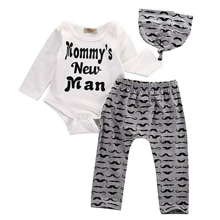 Toddler Kids Baby Boy 3Pcs Outfits Set Mommy's New Man T-Shirt Tops+ Moustache Long Pants+ Hat