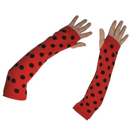 Black Dot Ladybug Halloween Costume Fingerless 2pc 15.5