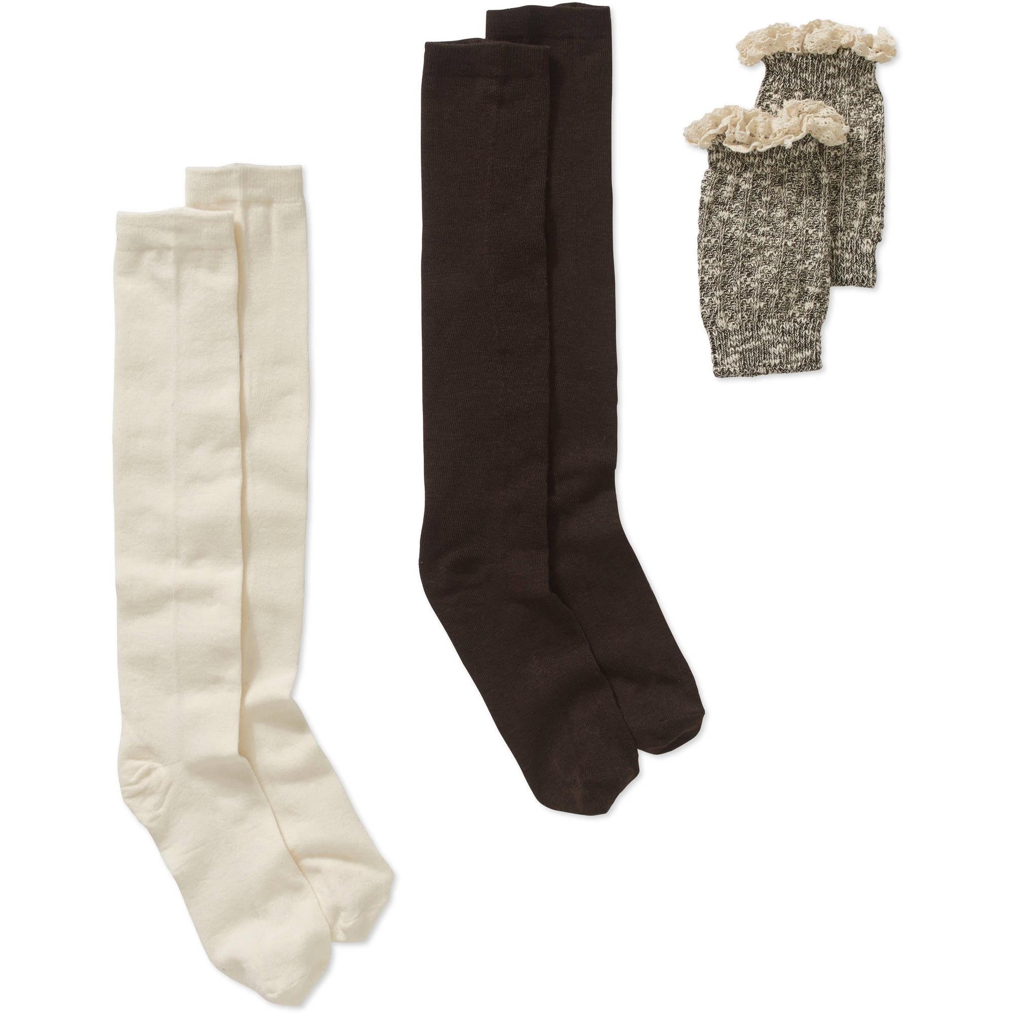 Ladies Marled Basket Stitch Boot Cuff with Slub Yarn, Crochet Cuff and Knee High Set, 2 Pack