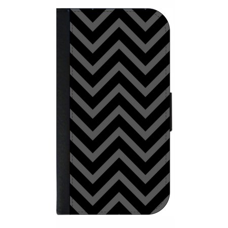 Black Chevrons - Wallet Style Cell Phone Case with 2 Card Slots and a Flip Cover Compatible with the Apple iPhone 4 and 4s