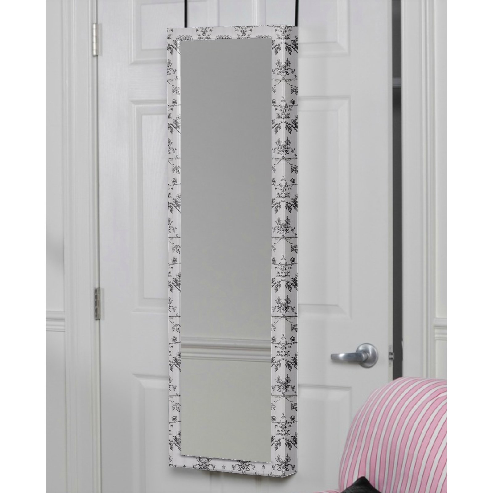 Mirrotek Plaza Astoria Over The Door Wall Mount Jewelry Armoire With Full Length Mirror Com