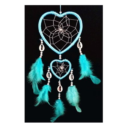 Blue Catchers - Handmade Heart-shaped Dream Catcher (With a Betterdecor Gift Bag) (Light Blue)