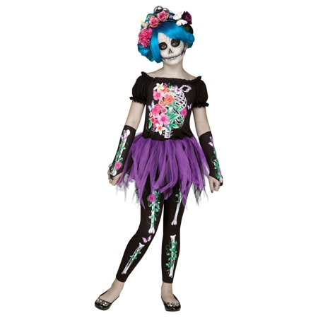 Girls Day of the Dead Bones Costume - Day Of The Dead Girl Costumes
