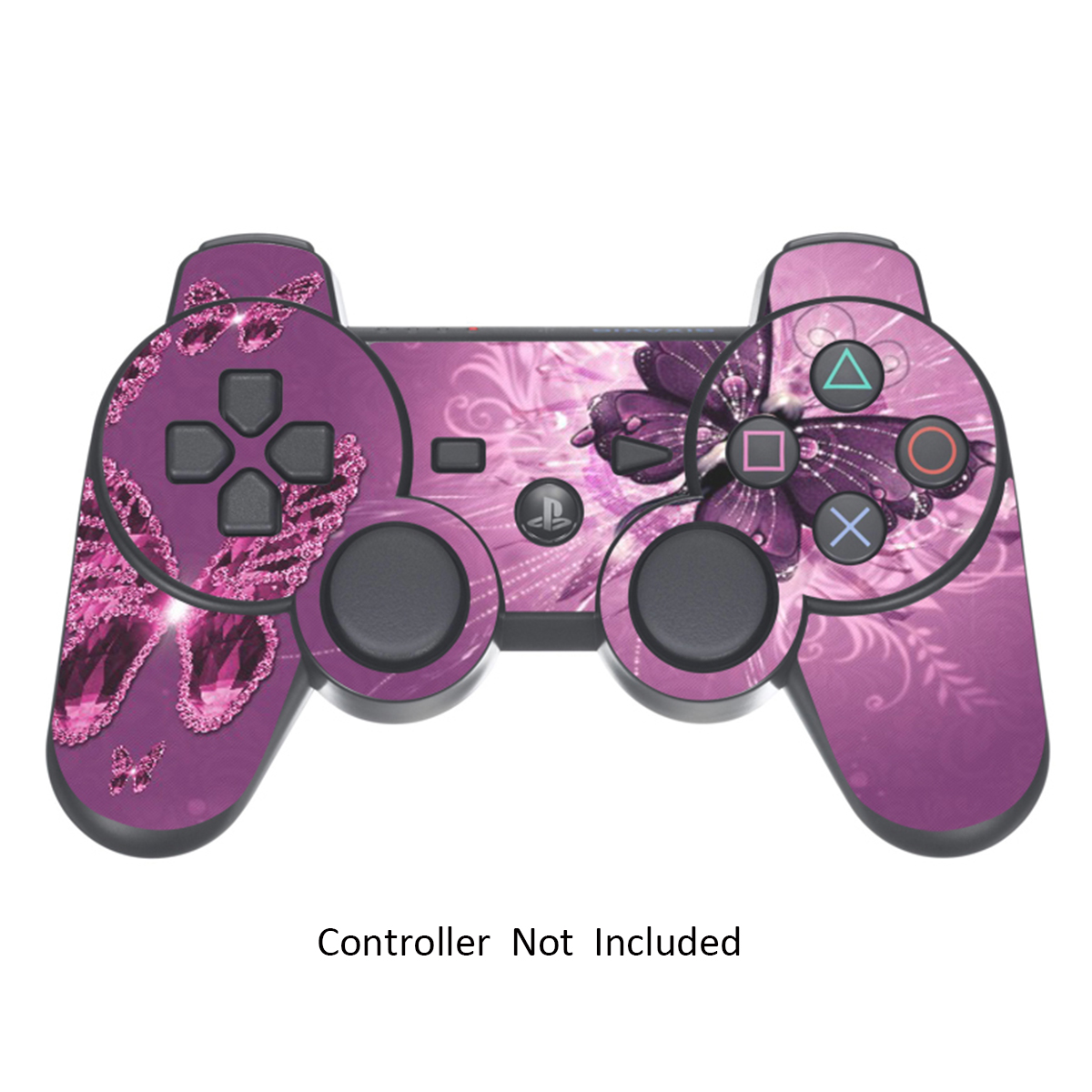 Skin Stickers for Playstation 3 Controller - Vinyl Leather Texture Sticker for DualShock 3 Wireless Game Sixaxis Controllers - Protectors Controller Decal - Lavender Butterfies