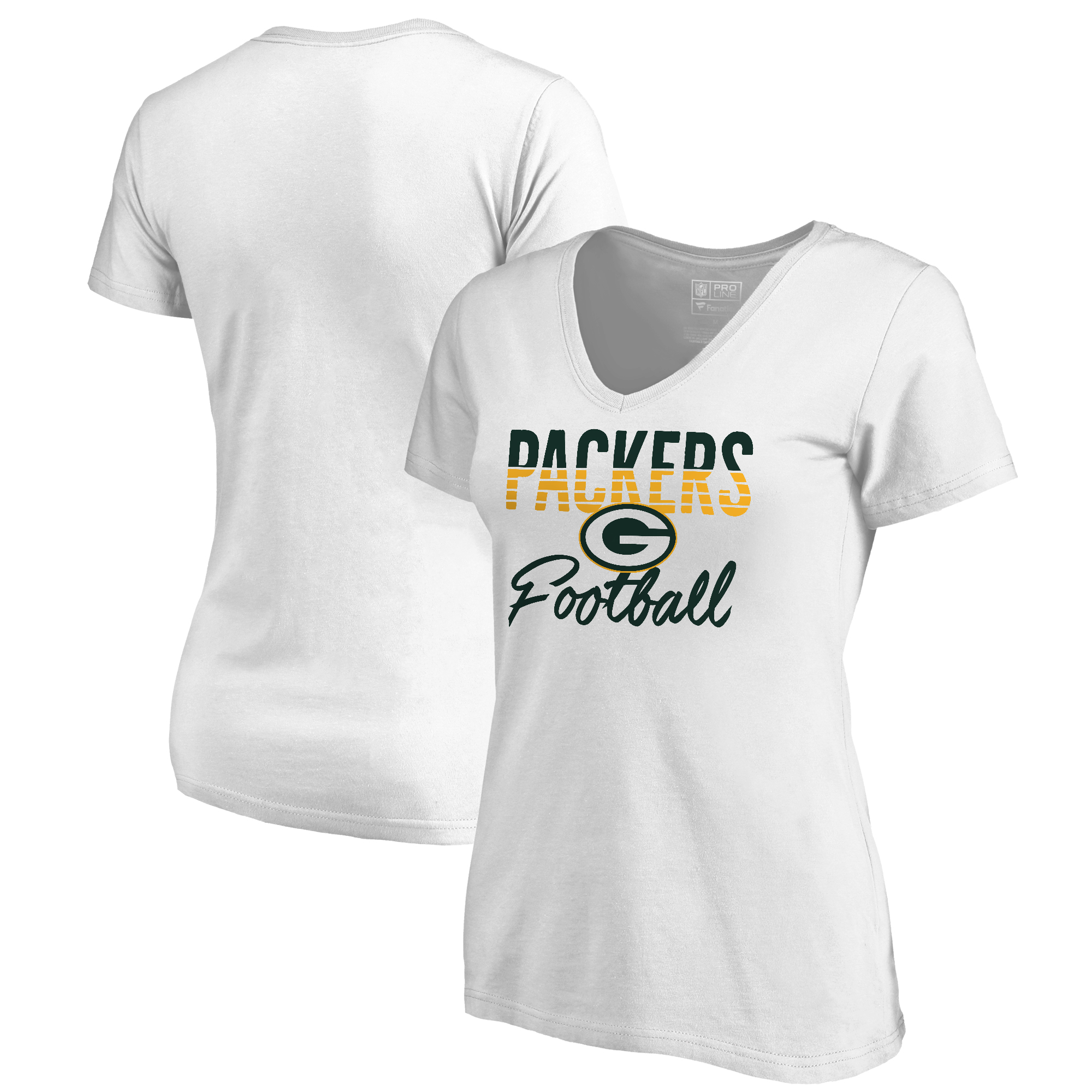 Green Bay Packers NFL Pro Line by Fanatics Branded Women's Free Line Plus Size V-Neck T-Shirt - White