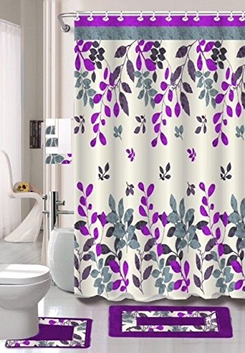 18 Piece Lilian Embroidery Banded Shower Curtain Bath Set Purple