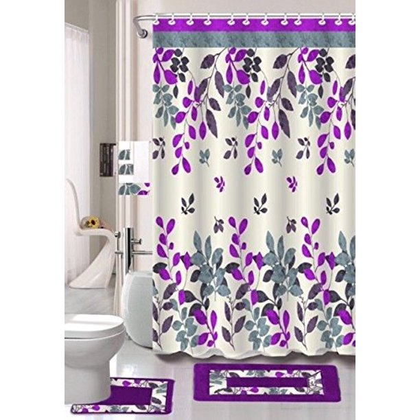 Hinata Purple & Gray Leaf 15 Piece Bathroom Accessory Set: 2 Bath