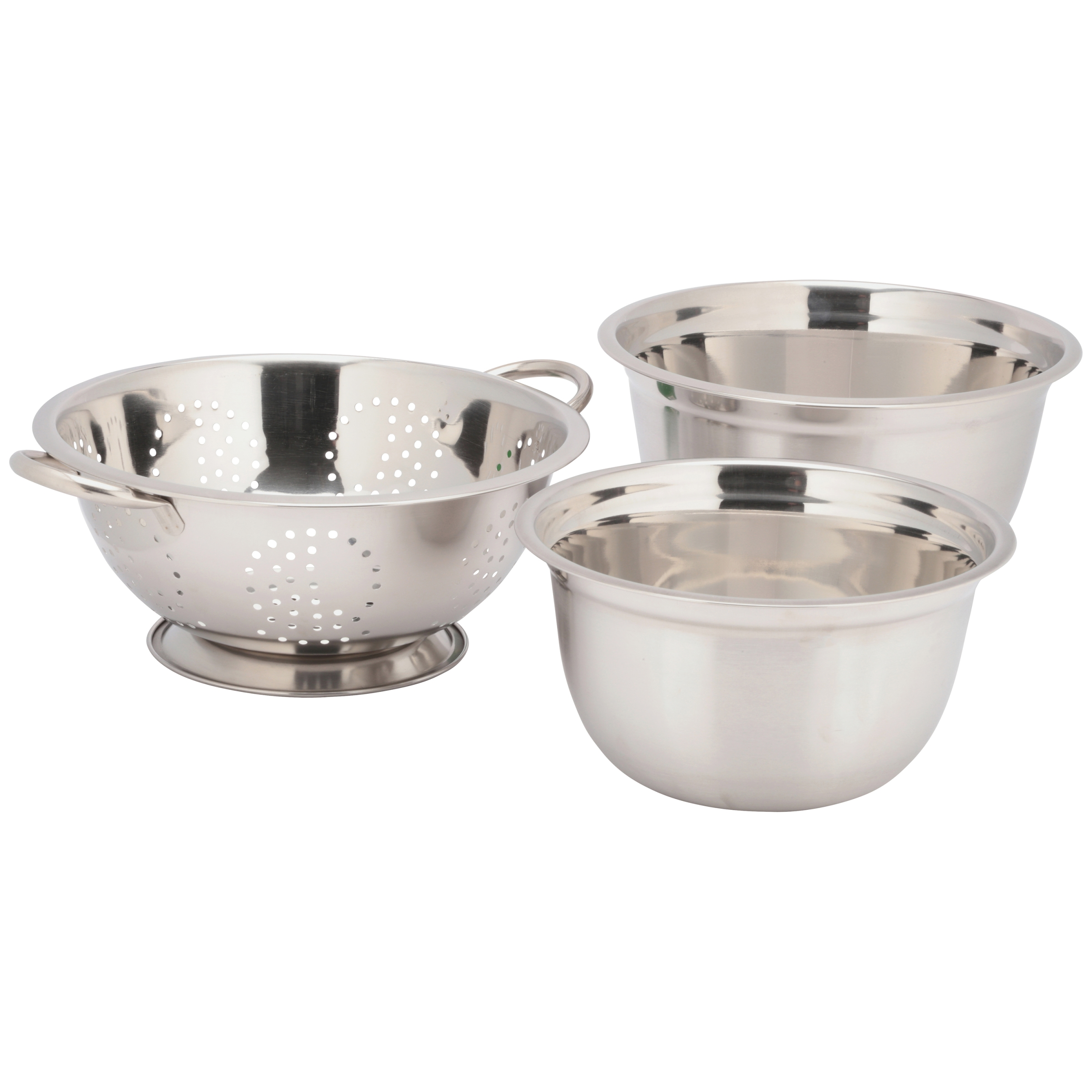 Prep-N-Cook Stainless Steel Mixing Bowls & Colander 3 pc Pack
