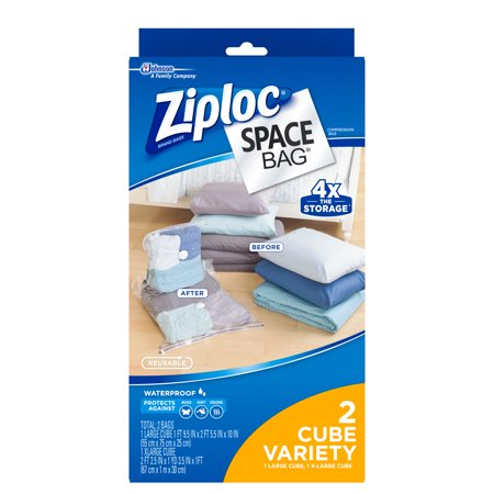 Ziploc Space Bag Cube Combo, 2 count (1 Large + 1 XL)