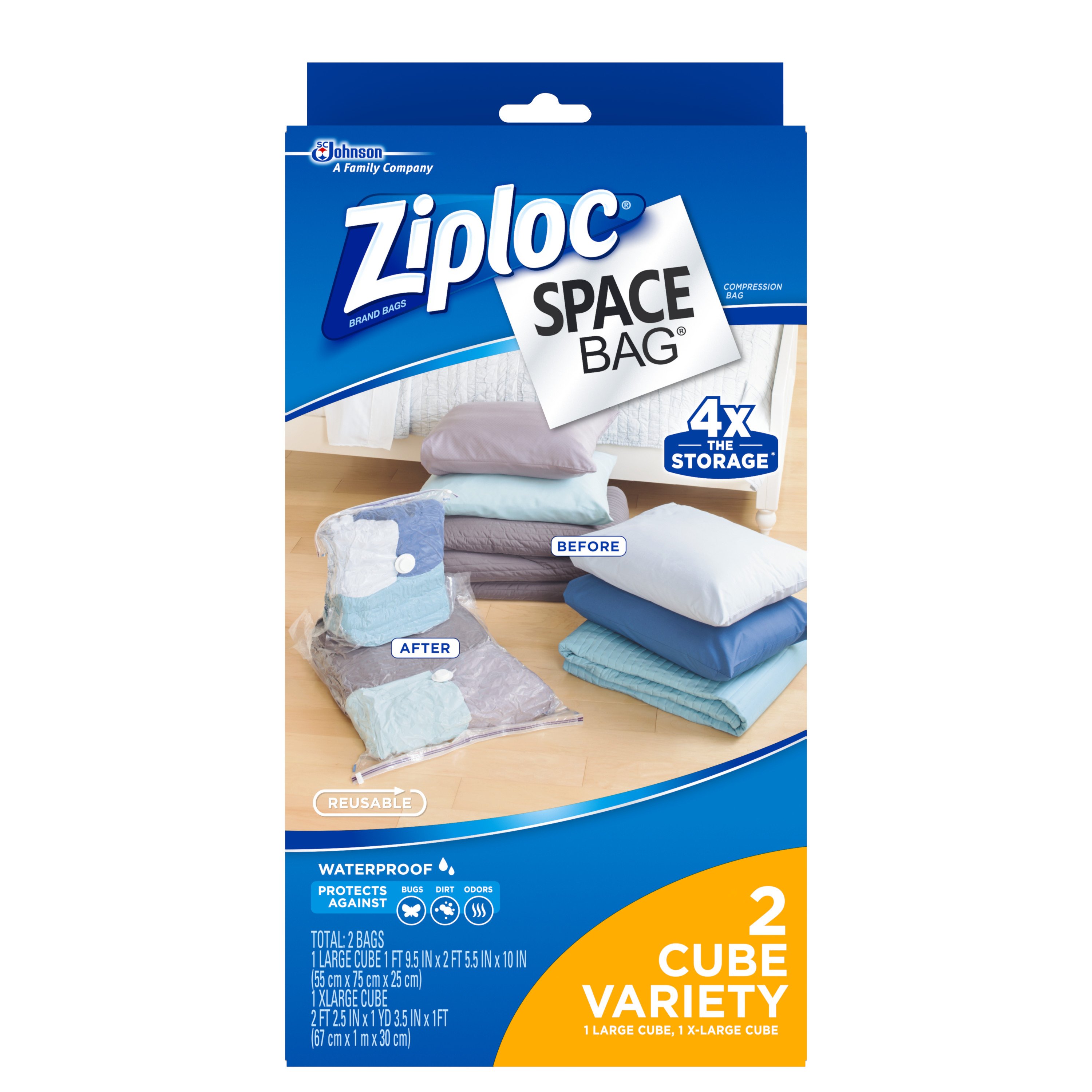 Charmant Ziploc Space Bag Cube Combo, 2 Count (1 Large + 1 XL)