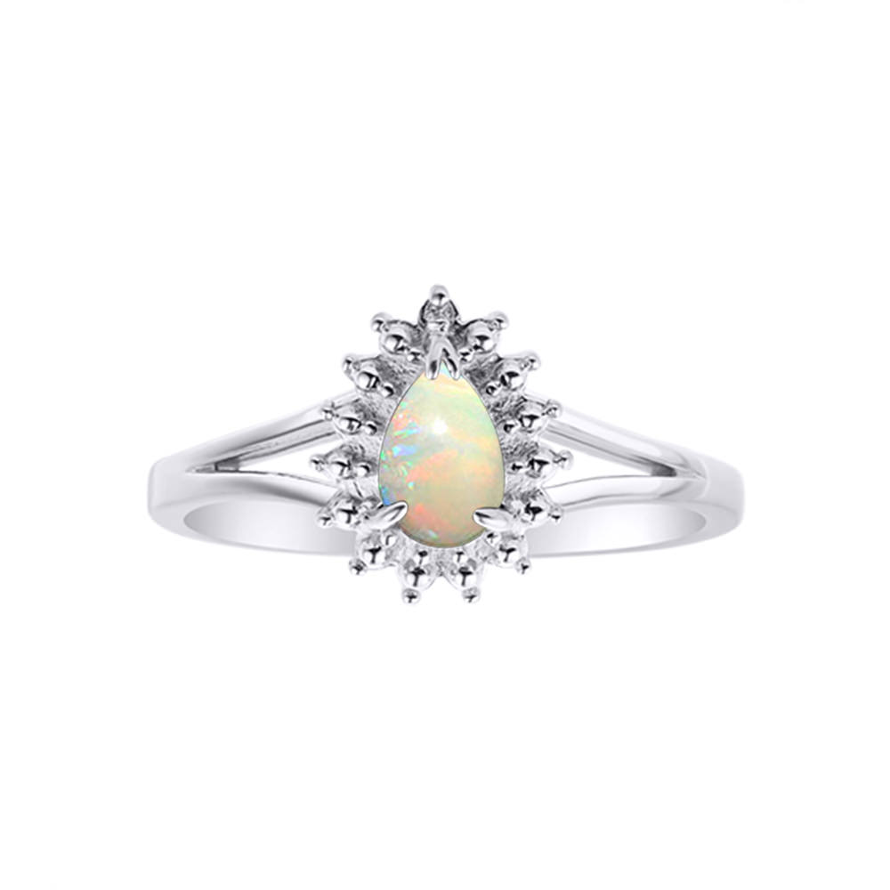 Diamond & Opal Ring Set In 14K White Gold by