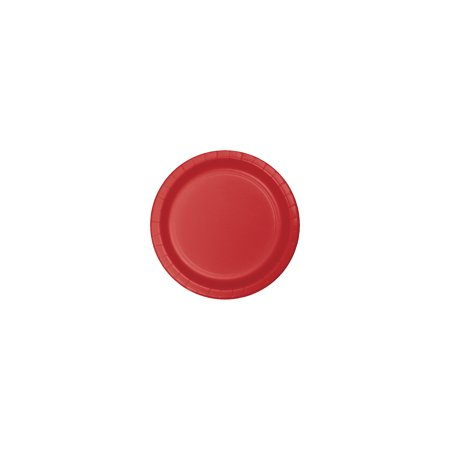 7 inch Roung Solid Paper Luncheon Plate Classic Red,Pack of 24 EA Maroon Luncheon Plate