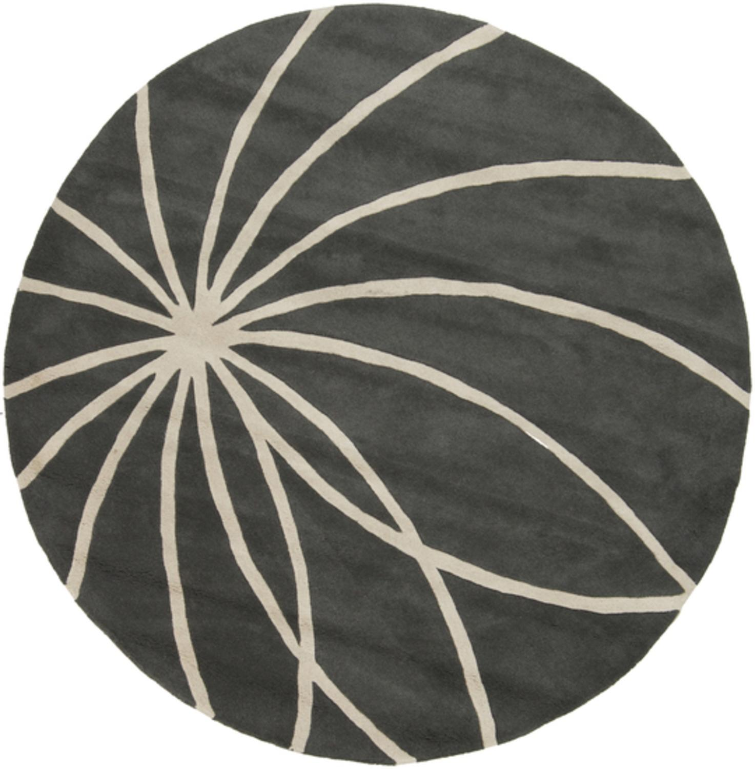 6' Plasma Elektra Cream and Slate Hand Tufted Wool Round Area Throw Rug