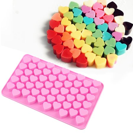 1 x 55 Chocolate Mold Pink, mini Heart Home Silicone Waffles Cake Chocolate DIY Pan Mold Pastry Baking Mould MZ - Flat Heart Mold