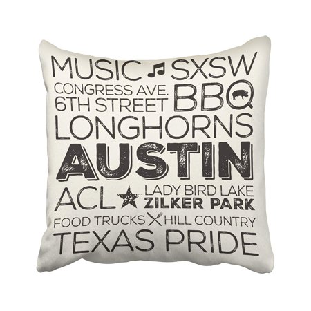 BPBOP Best Of Austin Texas Black Pillowcase Cover Cushion 16x16