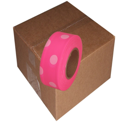 12 Roll Case of Fluorescent Pink and White Polka Dot 1 3/16 inch x 100 ft Non-Adhesive