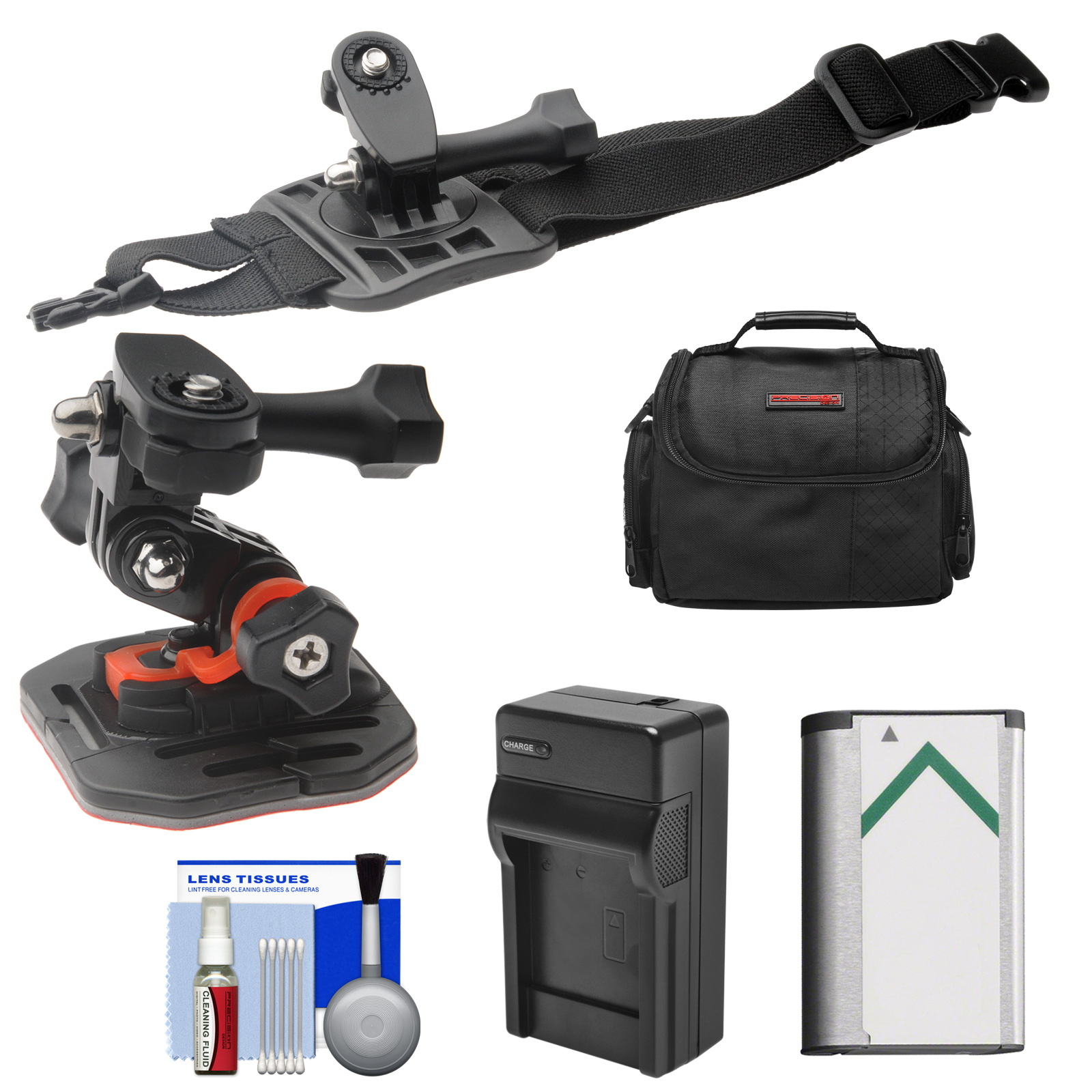 Essentials Bundle for Sony Action Cam HDR-AS50, AS200, AS300, FDR-X1000V & X3000 Camcorder with Curved Helmet & Arm Mounts + Battery + Charger + Case + Accessory Kit
