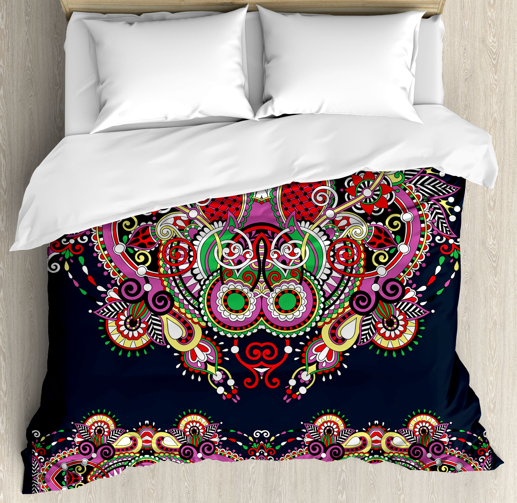 Ethnic Decor Queen Size Duvet Cover Set, Ukrainian Embroidery Fashioned Ornate Paisley with Unique Features Motif, Decorative 3 Piece Bedding Set with 2 Pillow Shams, Violet Dark Grey, by Ambesonne