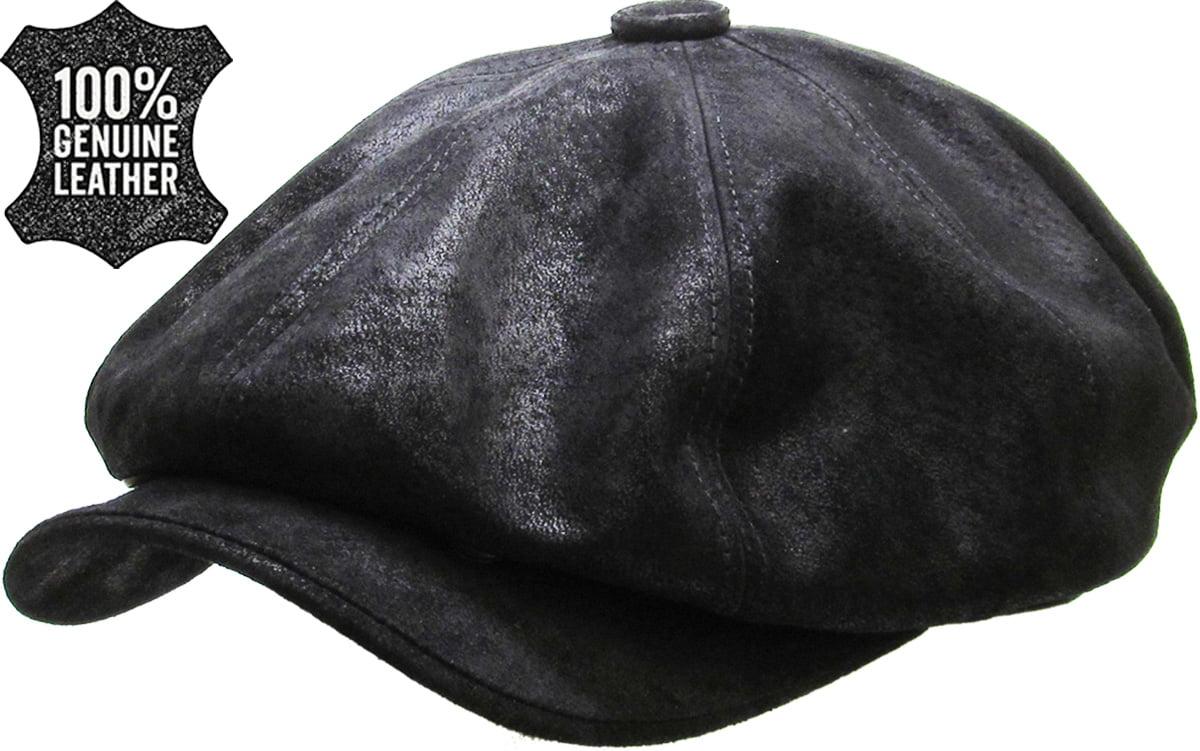 BLACK SOFT FEEL CAP NEWSBOY PRE FORMED PEAK FREE POSTAGE BRAND NEW