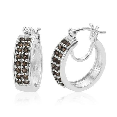 Pearl Smoky Quartz Earrings - Hoops Hoop Earrings Round Smoky Quartz Gift Jewelry for Women Cttw 0.9
