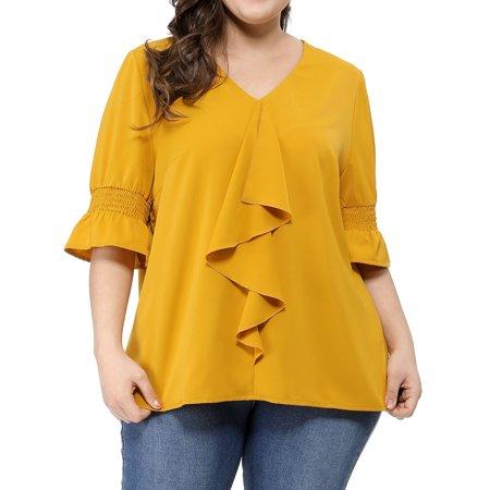 Unique Bargains Women's Plus Size Smocked Sleeves Top (Size 1X)