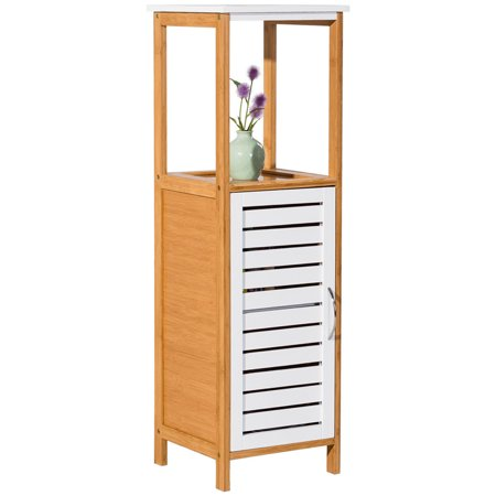 Costway Bamboo Bathroom Storage Rack Floor Cabinet Free