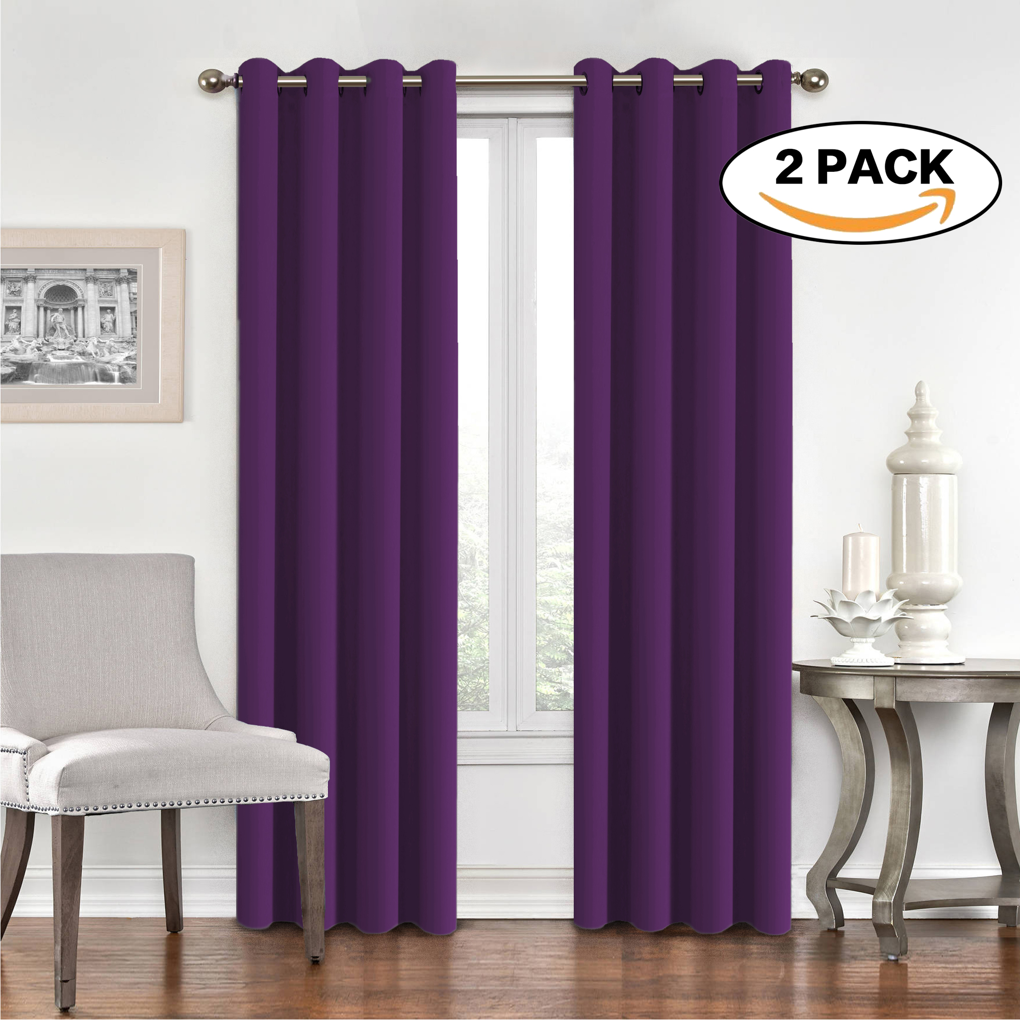 H.Versailtex Window Treatment Energy Saving Thermal Insulated Solid Grommet Blackout Curtains  Drapes for Living Room... by FlamingoP
