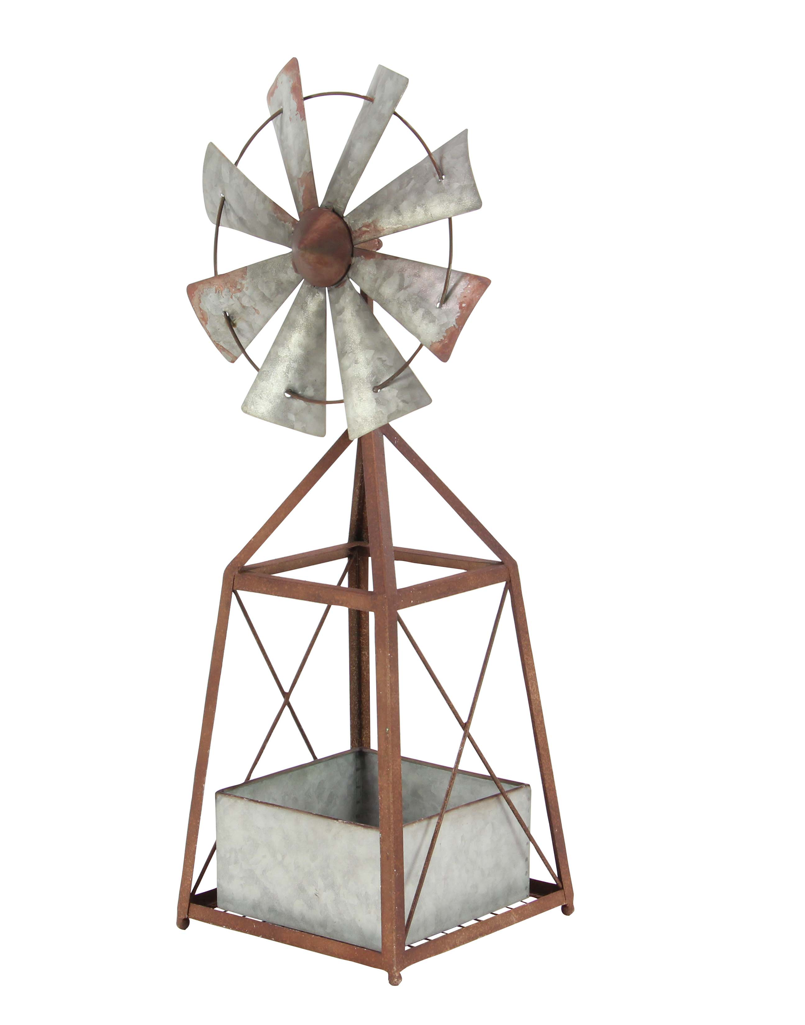 Decmode 34 Inch Farmhouse Iron Windmill Planter, Brown by DecMode