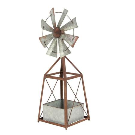 Decmode 34 Inch Farmhouse Iron Windmill Planter,