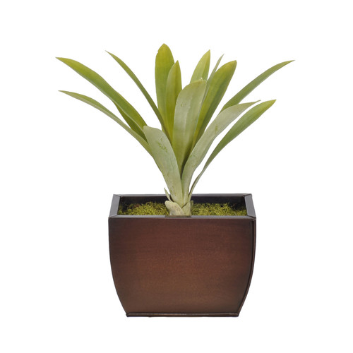 House of Silk Flowers Inc. Artificial Yucca Grass Desk Top Plant in Decorative Vase