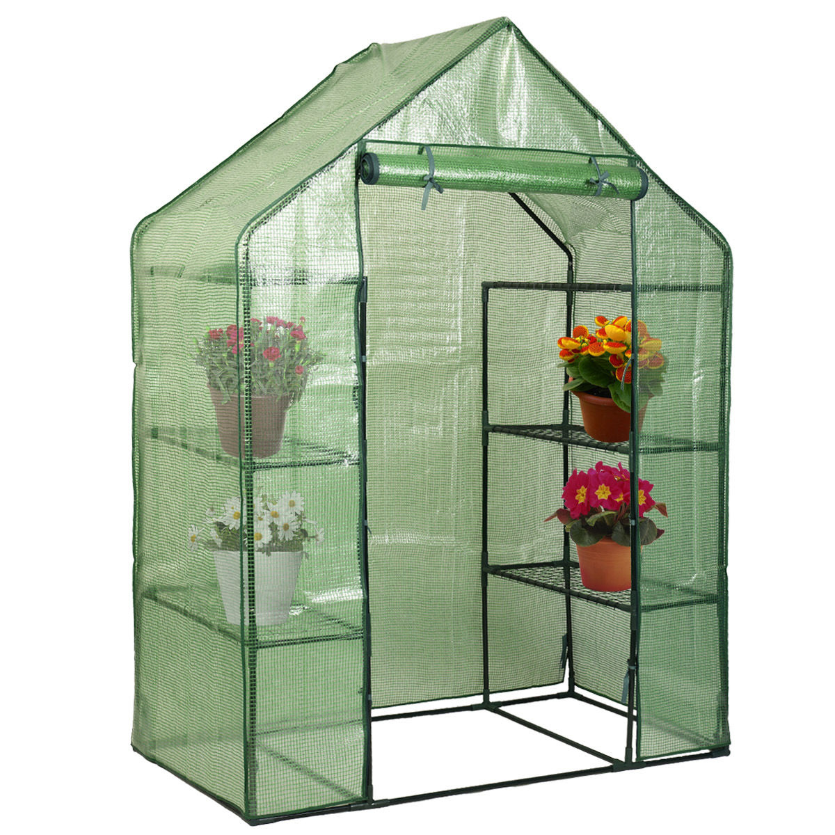 Zimtown Outdoor Portable Garden 2-Tier 8 Shelves Mini Walk-In Greenhouse courtyard Green House Garden Shed
