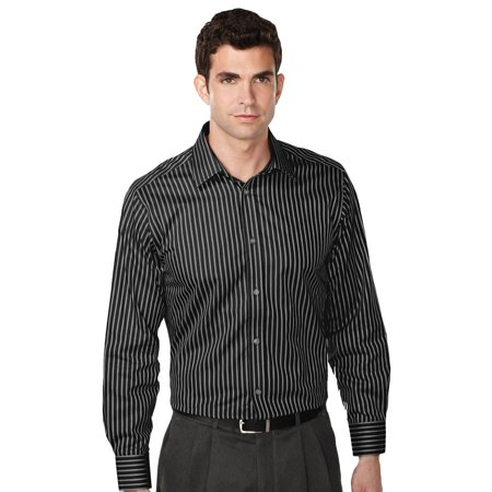 Tri-Mountain Men's Non Iron Striped Dress Shirt