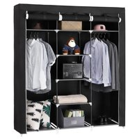 Ktaxon Portable Closet Organizer Wardrobe Storage Organizer with Cover Shelves Black