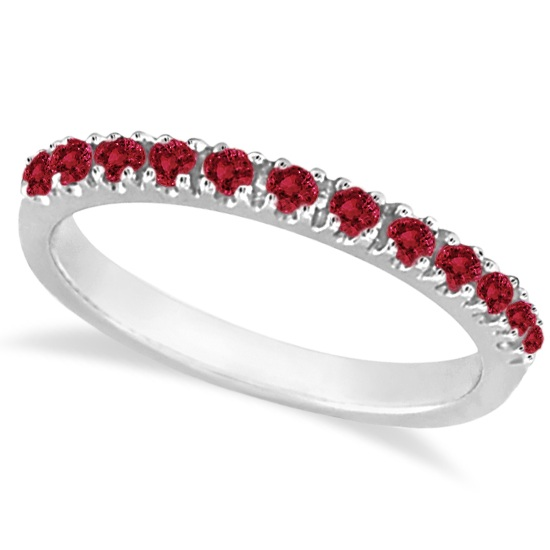 Ruby Stackable Ring Guard Band 14K White Gold (0.37ct) by