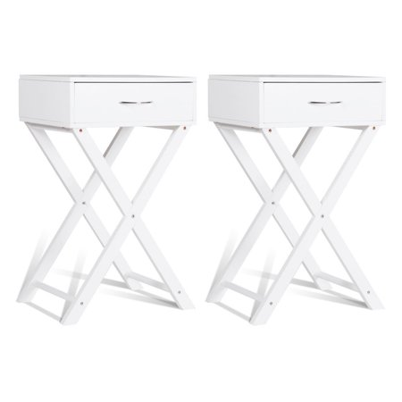 Costway 2 PCS Nightstand X-Shape Drawer Accent side End Table Modern Home Furniture White