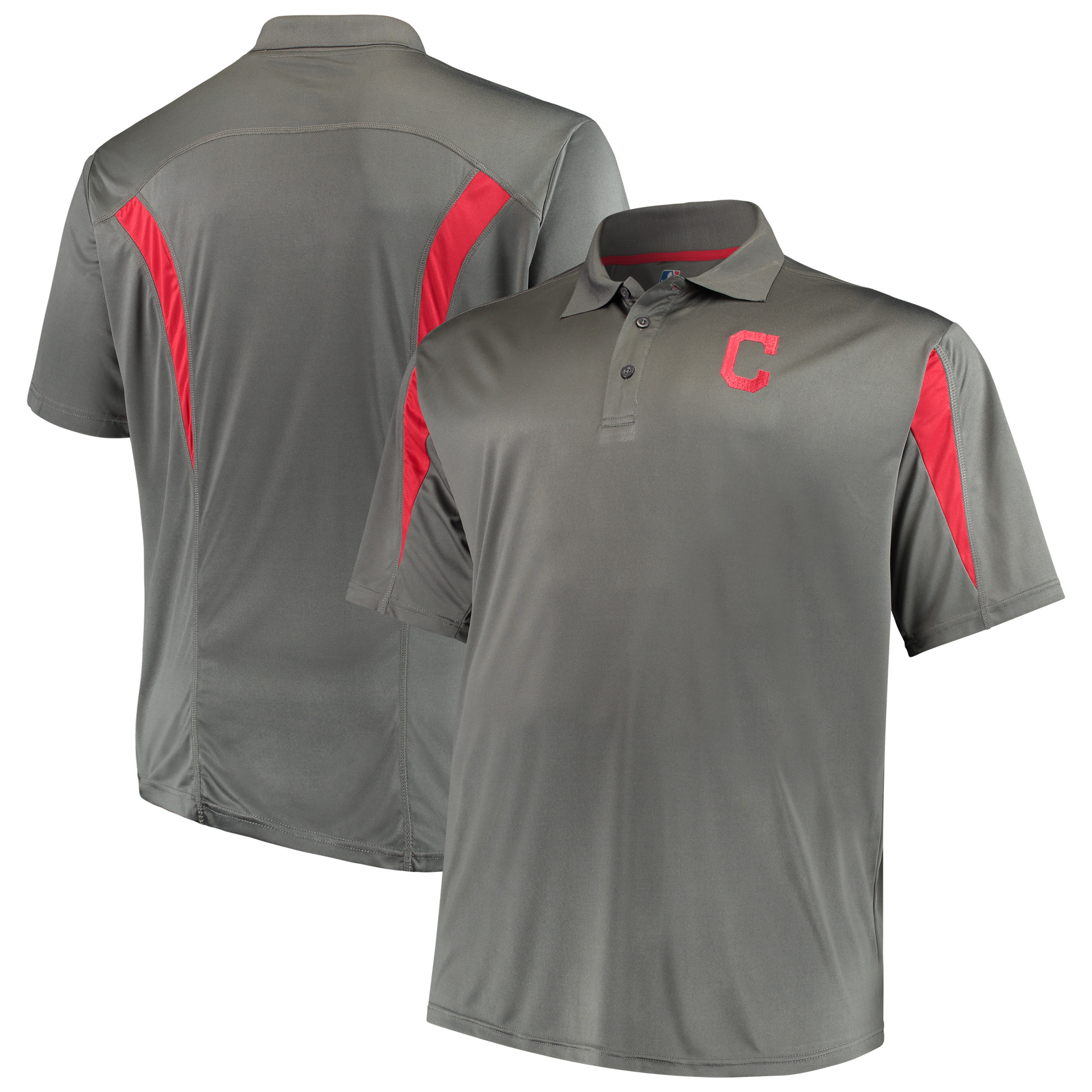 Cleveland Indians Majestic Contract Polo - Charcoal