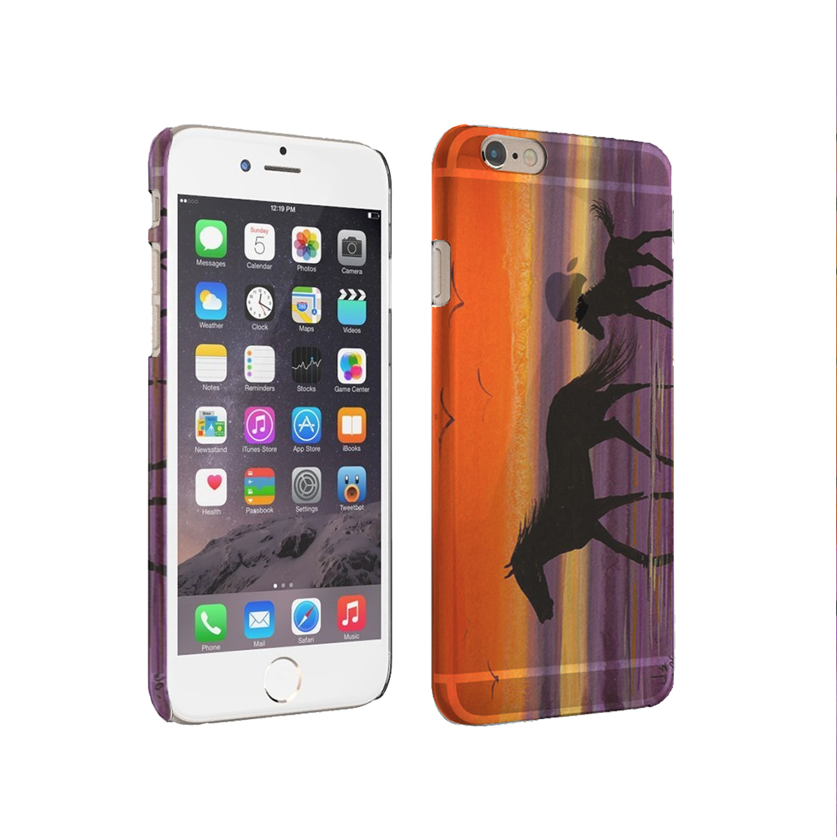 KuzmarK iPhone 6 Rubber TPU Gel Cover Case - Beach Ponies at Twilight Horse Art by Denise Every