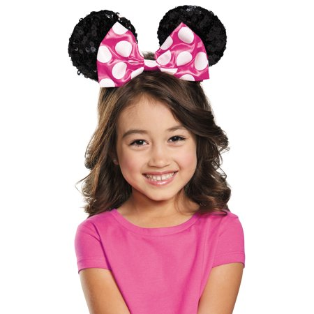 Pink Minnie Mouse Child Sequin Ears Halloween Costume Accessory - Adult Mouse Ears