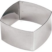 """Paderno World Cuisine Square Pastry Ring, Rounded-edges, 3.13"""", 6PK, Stainless Steel, 47426-01"""