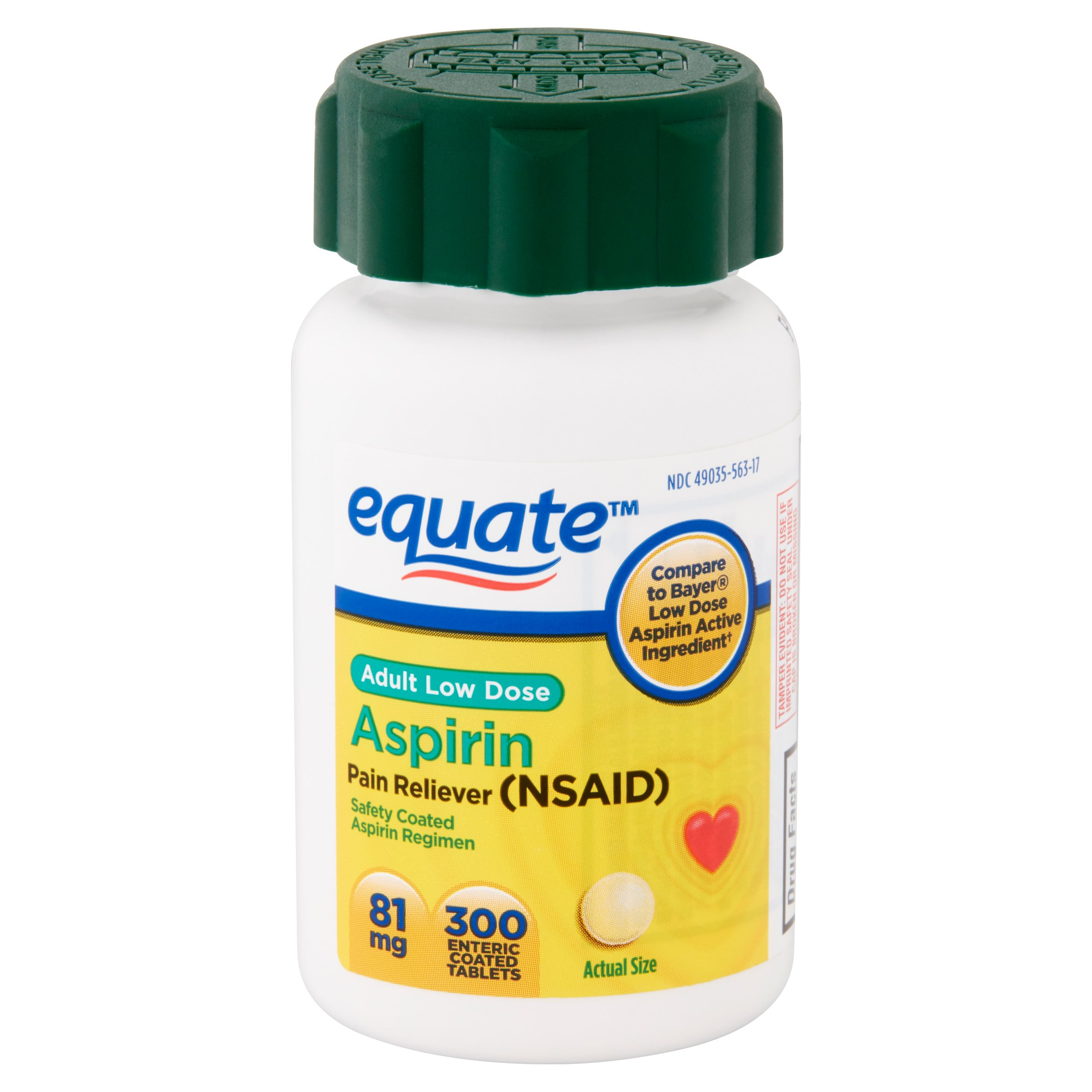 Equate Low Dose Aspirin 81 mg Pain Reliever Tablets, 300 ct ...
