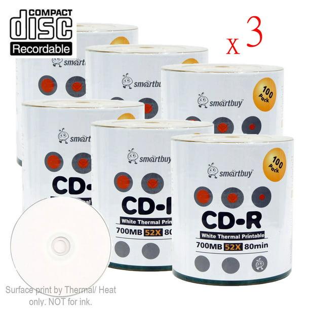 1800 Pack Smartbuy 52X CD-R 700MB 80Min White Thermal Hub