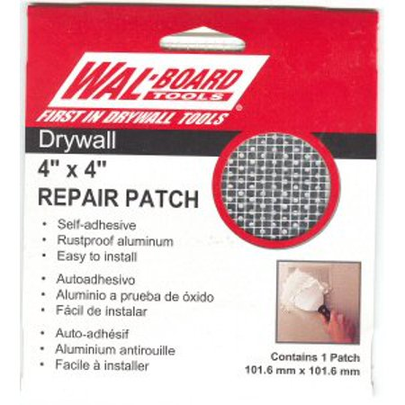Front Self Adhesive Packing - Wal-Board Tools 4 in. x 4in. Drywall Repair Self Adhesive Wall Patch, EASIEST DRYWALL PATCH! 6-Pack peel-and-stick self-adhesive wall patches made of.., By Walboard Ship from US