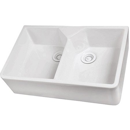 Barclay 31.5u0022 Double Bowl Farmer Sink with No Faucet Holes