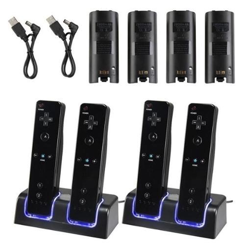 Insten 2 pcs Dual Charging Charger Dock Station with 2-pack 2800mah Battery For Wii Remote